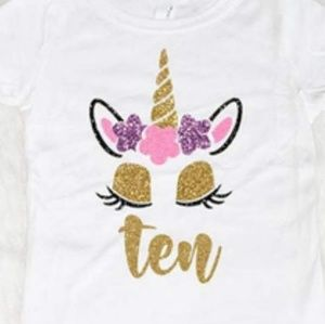 Girl's Unicorn Birthday Tee's